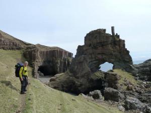 Walking,Carsaig Arches sea arches Isle of Mull