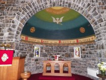 Kilmore church apse dove of peace ying and yang masculine feminine Dervaig Isle of Mull