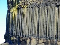 Isle of Staffa volcanic basalt 3 layered rock structure