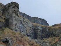 basalt lava cliffs, MacKinnon's Cave , Mull