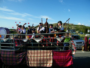 Mull and Iona Pipe Band Gala Parade Fionnphort Isle of Mull